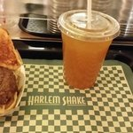 delicious ice tea and Harlem classic burger