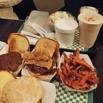 shakes, Halrem classic and pigskin classic burgers, yawn fries, and more