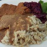 Jaegerschnitzel with spaetzle