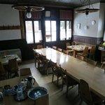 Der Frühstückssaal im Hotel Mittaghorn in Gimmelwald