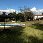 Preciosa vista del jardin con su piscina