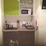 enough kitchen space, including fridge