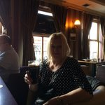 Liz in the wee bar enjoying Guinness