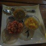 Fajita modifiers:  Green Sauce (HOT!), mango pieces and diced tomatoes.