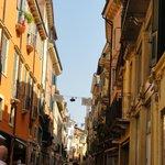 The buildings overlooking Via Mazzini