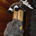 """these two """"mascots"""" were just adorable..here on the bedpost of the massive king sized bed"""