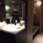 tea and coffee facility with bar fridge