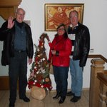 Lester, Jacqueline & Steve Rafuse with tree outside our door at hotel