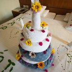 Towel art Birthday cake!