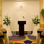 Ballroom set for ceremony