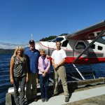 Us with Michelle, her assistant and her plane at Traitor's Cove.