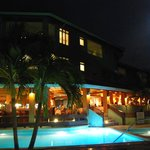 Dining and moonlight as seen from the pool bar
