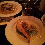 Salmon and tortellini. Lavrak fish
