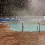 Snowing at Hot Pools