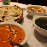 butter chicken, palak paneer and dal makhani