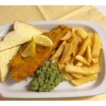 Fish & Chips served with Mushy Peas , Bread & Butter