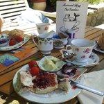 Yummy cream tea and coffee cake
