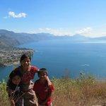 Mayan children overlooking the lake