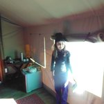 Dentro da cabana