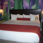 bed with mural