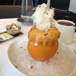 "Grapefruit icecream dessert with Turkish delight & Iranian? ""cotton candy"""