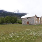 Newer building with mountain