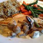 Redfish Ponchartrain, dirty rice, carrots and green beans.