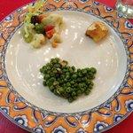 Grilled Cuttlefish with peas, Fried Salt Cod , Cauliflower, anchovies, oli