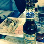 Greek beer and appetizers dish