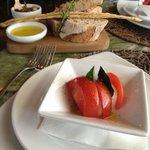 Breads & olives and wonderful fresh tomato and mozzerella