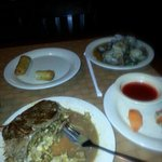 the steak with hibachi grill spring roll clams in bean sauce