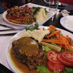 Coq Au Vin and Veal Cordon Bleu with bland vegetables