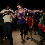 Around midnight, village party with Karamojong people
