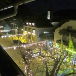 View from the balcony with the Christmas lights lit.
