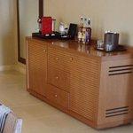 coffee maker and mini bar area