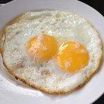 Over easy eggs, room service breakfast