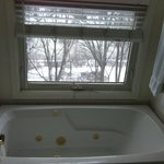 Huge and comfortable bathtub with a nice view of the wharf
