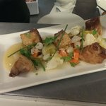 Pork Belly Bites with Pickled Veg and apple puree