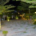 patio donnant accès aux chalets