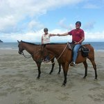 My husband and I riding on the beach at Cape Trib