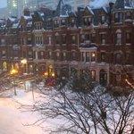 Looking across Newbury Street from our room window
