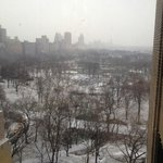 View from sliver window - snowy day