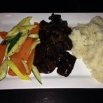 Steak tips (with house BBQ sauce), mashed potatoes and veggies!!!