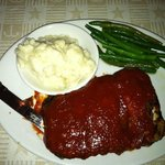 Bourbon BBQ ribs with perfect mashed potatoes and green beans