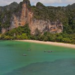 View from the rappel exit. Railay beach and tiger wall facing us.