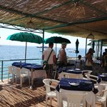 Nice food at restaurant overlooking beach