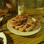 Barbeque tiger prawns