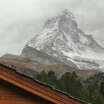The Matterhorn view from the balcony (when the clouds gave way for a few seconds :(