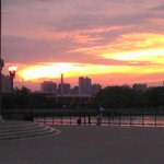 Looking back at the sunset from the end of Navy Pier