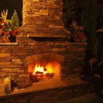 Rustic Fireplace and Outdoor Dining